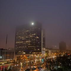 Foggy dawn (chipssta) Tags: traffic exposure dawn fog city building newark