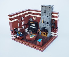 Burglars!! (Robert4168/Garmadon) Tags: lego uncle brethrenofthebrickseas chimney burglar smuggler eslandola room interior brown grey chair table piano grate lantern