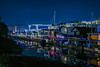 barge living on the creek (pbo31) Tags: bayarea california nikon d810 color boury pbo31 winter 2018 night dark black sanfrancisco city missionbay overpass missioncreek housboat lightstream traffic bridge reflection 280 ramp blue february