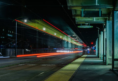 1 car outbound at ucsf mission bay (pbo31) Tags: sanfrancisco california nikon d810 color night dark black urban january winter 2018 boury pbo31 city missionbay 3rd street lightstream motion traffic roadway muni red station platform tram car outbound southbound infinity ucsf medicalcenter green motionblur