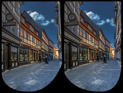 Quedlinburg shopping street 3-D / CrossEye / Stereoscopy / HDR / Raw (Stereotron) Tags: sachsenanhalt saxonyanhalt ostfalen harz mountains gebirge ostfalia hardt hart hercynia harzgau quedlinburg streetphotography architecture fachwerk halftimbered house stud work antiquated ancient medieval middleages crosseye crosseyed crossview xview cross eye pair freeview sidebyside sbs kreuzblick 3d 3dphoto 3dstereo 3rddimension spatial stereo stereo3d stereophoto stereophotography stereoscopic stereoscopy stereotron threedimensional stereoview stereophotomaker stereophotograph 3dpicture 3dglasses 3dimage twin canon eos 550d yongnuo radio transmitter remote control synchron kitlens 1855mm tonemapping hdr hdri raw availablelight