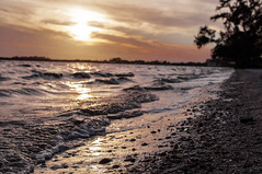 Waves at Sunset (Cracked_Lens) Tags: beach floridanature florida floridasky sky skyart skyporn sunset floridasunset sun clouds skyonfire waves wave sand orange orangesky