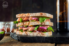 Sandwich with vegetables and ham (Food photography / Food styling) Tags: avocado appetizer bio bread closeup cuisine cut decorated decoration diet eat enjoy flavor food foodstuff freetime fresh green ham health healthy herb italian leaf lowfat meal meat onion sandwich served slice snack starter tomato vegetable white