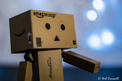 52/365 2018 Danbo Close Up (crezzy1976) Tags: nikon d3300 nikkor40mm crezzy1976 photographybyneilcresswell photoaday danbo danboard amazon cardboardbox bokeh outoffocus blue figure smile closeup 365 365challenge2018 day52