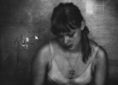 Silence (andredekok) Tags: portrait monochrome bw texture woman film