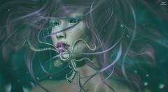 Dee~OctopusKiss (Skip Staheli *FULLY BOOKED*) Tags: skipstaheli secondlife sl avatar virtualworld dreamy digitalpainting fantasy octopus water underwater bubble delindadench delindastaheli portrait