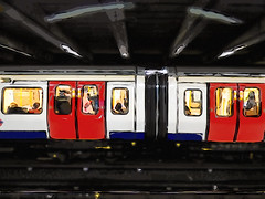 Abstract Passengers (Steve Taylor (Photography)) Tags: art digital abstract red yellow white blue black grey people uk gb england greatbritain unitedkingdom london outline shape lines rail train underground tube doors passengers