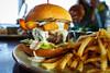 Burger w/ mozzarella, lettuce, fried zucchini, horseradish cream sauce - Table 9 (sheryip) Tags: food foodporn morgantown burger sher yip tuesday fries horseradish