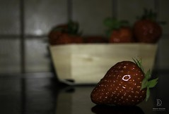 The Basket Of Fresh Strawberies (kaprysnamorela) Tags: strawberry strawberries reflection tiles lowkey basket fresh red fruit green nature food nikond3300