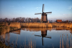 Mills (Hetty S. (catching up)) Tags: mill mills holland winter water reflections sky colors landscape oudorp