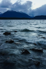 Moody Manapouri (milo42) Tags: sony a7r 2014 new zealand manapouri water httpwwwchrisnewhamphotographycouk south island rocks location outside mountains newzealand sonya7r southisland southland nz