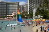 Rainbow Sailboat on Waikiki Beach (trailwalker52) Tags: waikiki hawaii oahu beautiful beach tourist vacation rainbow rainbowsail cool picturesque sailing ocean pinkhotel pink theroyalhawaiian royalhawaiian royalhawaiianhotel theroyalhawaiianhotel sunbathing suntanning relaxing