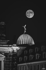 Full moon over Dresden (fredcube photography) Tags: full moon fullmoon famous place famousplace architecture night dark beautiful view city cityscape black blackandwhite saxony dresden germany photographer photography lights romantiic monochrome panorama sky building travel europe