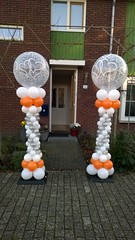 ballonpilaar wit zilver oranje