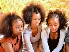 Tigray Hairstyles (Rod Waddington) Tags: africa african afrique afrika äthiopien ethiopia ethiopian ethnic etiopia ethnicity ethiopie etiopian tigray tigre hairstyle traditional girls group wedding guests eating tent indoor interior culture cultural women sundaylights