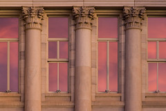 Sunrise Windows - Pueblo County Courthouse (Christopher J May) Tags: explored explore sunrise morning reflection window pueblo colorado co goldenhour county courthouse nikond600 nikonafnikkor80200mmf28d