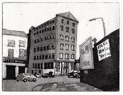 Liverpool, Islington. (larosecarmine) Tags: liverpool fabric quarter etching urban sketch drawing caroline johnson