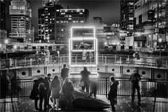 Enter the Cube by Matthew Teager (Teager Photography) Tags: bromleycameraclub london canarywharf winterlights competition blackandwhite nikon d750 longexposure night