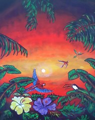 TROPICAL SUNSET (tomas491) Tags: hibiscus parrots bananaplants palmtrees eyes sunset glow fantasypainting acrylic colorful bright complementcolors