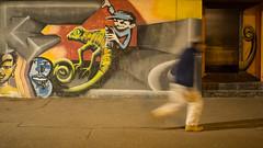 Mural with running person (schauplatz) Tags: deutschland dunkelheit feuersee nacht stuttgart darkness night mural wandbild streetphotography streetart