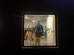Philosophy is All the Mode (Roblawol) Tags: black blue centralamerica ciudaddemexico clothes clothing evening fashion lights mexico mexicocity night philosophy red shop shopping window