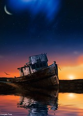 Your attitude (gusdiaz) Tags: photoshop photomanipulation boat ship reflection sunset sunrise stranded sand beach moon sky stars water sunny sun sol soleado winter invierno bote reflejo mar arena arte art digital gorgeous colorful hermoso colorido