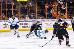 """Kansas City Mavericks vs. Florida Everblades, February 18, 2018, Silverstein Eye Centers Arena, Independence, Missouri.  Photo: © John Howe / Howe Creative Photography, all rights reserved 2018 • <a style=""""font-size:0.8em;"""" href=""""http://www.flickr.com/photos/134016632@N02/39491163455/"""" target=""""_blank"""">View on Flickr</a>"""