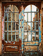 looking out (teedee.) Tags: composite image doors windows krakow street scene glass reflections wooden paint distressed wood