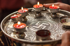 Prayer Plate (Pooja Thali) (views@vista) Tags: family marriage wedding rituals traditional candles flames fire hindu prayer