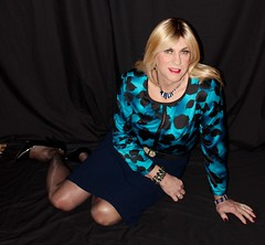 Silk blouse and matching necklace (bethany_labelle) Tags: trans silk blouse satin secretary pencil skirt transvestite silky