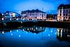 Evening lights in the city (Maria Eklind) Tags: bluehour bridge street water spegling city rörsjökanalen dusk canal bro malmö amiralsbron sky twilight blue kanal reflection building södraförstadskanalen sweden streetsofmalmö skånelän sverige se