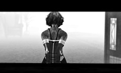 Content (Laura a surprise package in the kink department) Tags: armbinder shidesign corruption blackwhite monochrome secondlife bondage newtag