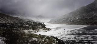 Walking on a frozen lake.