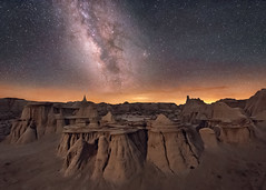 To Walk a Pale Land, Part 3 (Wayne Pinkston) Tags: newmexico badlands hoodoo erosion sculptedlandscape lll lowlevellighting night sky nightsky nightlandscape nightphotography nightscape waynepinkston waynepinkstonphotocom lightcrafter lightcraftercom stars star starrynight milkyway galaxy cosmos theheavens dramaticsky astrophotography landscapeastrophotographywidefieldastrophotography desert wilderness nikon