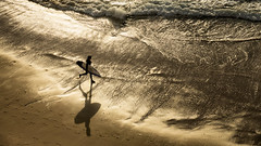 'Sun, Sand, Surf, Sheen & Shadow' (Canadapt) Tags: man surfer sand beach waves surf shadow sun shine sheen magoito portugal canadapt
