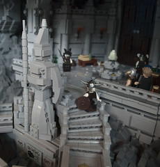 Volsung Hall (Brickvention 2018 Collab Ben and Eli) (Ben Cossy) Tags: lego moc afol tfol castle skyrim fantasy dragon trophy bv 2018 melbourne rock nature volsung hall cossy brickvention bricks brickvention2018 waterfall water zombie draugr convention