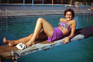 Kodachrome Slide of Lady in Swimsuit Posing on Diving Board, 1940s
