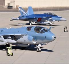"E/A-6B ""Prowler"" and an E/A-18G ""Growler"" (aeroman3) Tags: aircraft ea6bprowler vikings vaq129 nasnorthisland usnavy sandiego ca unitedstates calif"
