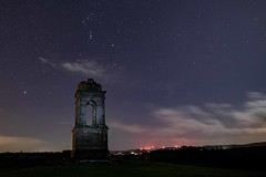 The Mausoleum at Downhill demesne Northern Ireland with the constellation of Orion above it. Moon 50% (jac.photography49) Tags: stars nightsky night orion m45 nationaltrust nebula constellation clouds downhill monument mausoleum moon