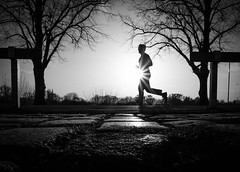 morning jog (Dan-Schneider) Tags: streetphotography street silhouette light shadow frame sun blackandwhite bw schwarzweiss schneider fuji fujix