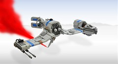 Resistance Ski Speeder (1) (Inthert) Tags: lego moc star wars last jedi crait resistance ski speeder skimmer ship salt wings tail rudder blue weapons pod cockpit engine airplane sky aircraft