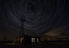 Dungeness Star Trails (selvagedavid38) Tags: astro night stars sky trails star beach kent dungeness dark tower mast fog horn