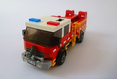 CFA Medium Tanker 1 (Lonnie.96) Tags: lego brick moc own creation australia aus 2018 february fire emergency country authority metropolitan brigade state service forest management truck scania appliance mfb ses cfa ffm victoria tanker hazmat slip ultra light response altona red white blue orange 4wd car ute pumper green