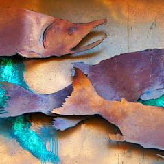 metal fish catch (detail) (msdonnalee) Tags: fish fishsculpture metalfishsculpture sculpturedetail