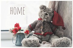 home (raisalachoque) Tags: knitwear flowers red hat window teddybear flickrfriday thereisnoplacelikehome