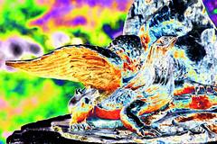 Geflügelte Echse (psychedelic world) Tags: art kunst skulptur sculpture echse saurian park kurpark outdoor flügel wings michael ende fantasy phantasie psychedelisch psychedelic psychedelicworld