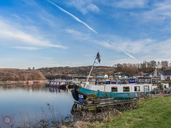 Auchinstarry Marina, Forth and Clyde Canal, Scotland (picsbyCaroline) Tags: boat grass water sky canal barge scotland united kingdom colour landscape marina waterfront