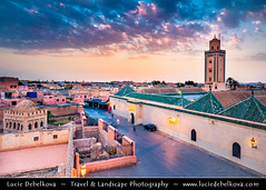 Morocco - Marrakech - UNESCO - Minaret of Ben Youssef Mosque at Sunset (© Lucie Debelkova / www.luciedebelkova.com) Tags: benyoussefmosque medersabenyoussef marrakech marrakesh morocco maroko moroccan المغرب‎ almaġrib maroc kingdomofmorocco maghreb berber maġrib ma northafrica africa arabic arab arabworld world exploration trip vacation holiday place destination location journey tour touring tourism tourist travel traveling visit visiting sight sightseeing wonderful fantastic awesome stunning beautiful breathtaking incredible lovely nice best perfect dusk twilight bluehour night wwwluciedebelkovacom luciedebelkova luciedebelkovaphotography sky sunset cloud clouds mosque minaret muslim islam