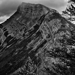 A Look Across the Side of Mount Rundle (Black & White, Banff National Park) thumbnail