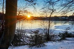 Morning sun, Norway (Vest der ute) Tags: xt2 norway rogaland haugesund eivindsvatnet water waterscape landscape lake sunrise sunstar trees tree sky ice snow winter fav25 fav200